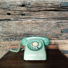 Old green telephone