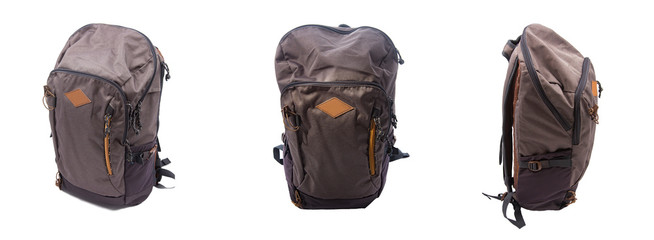 Different views of backpack sides for travel. Front and sides of the backpack. Perspective view of the bag.