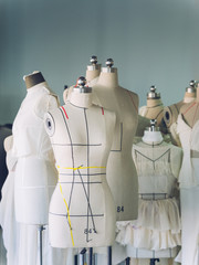 group of empty mannequins in studio
