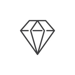Diamond line icon, outline vector sign, linear style pictogram isolated on white. Jewelry symbol, logo illustration. Editable stroke