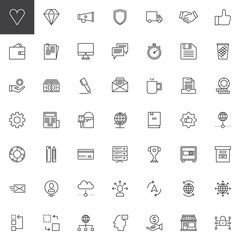Universal business line icons set, outline vector symbol collection, linear style pictogram pack. Signs, logo illustration. Set includes icons as megaphone, shield, money, newspaper, trophy, wallet