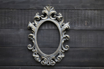 Baroque Picture Frame on Wooden Background