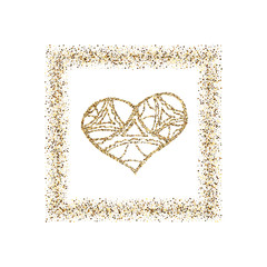 Happy Valentine s Day, with golden glitter effect in gold frame, isolated on white background. Can be used for Valentine s Day design.