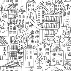 Town seamless pattern.