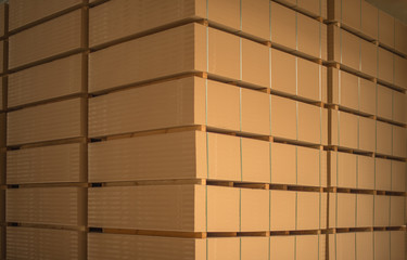 The stack of MDF boards tied with ribbon in stock