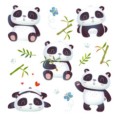 vector cartoon style 3d effect kawaii cute panda set
