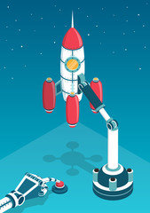 Space rocket just before the start and the robot's hand pressing the start button. 3d isometric vector illustration.