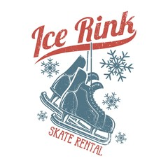 Retro skates hang on the inscription ice rink - winter emblem. Worn texture on a separate layer and can be easily disabled.
