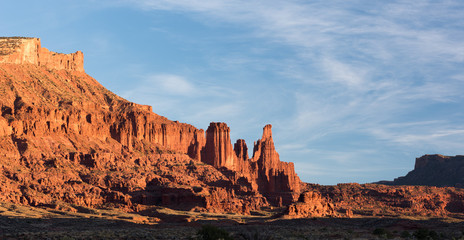 Fisher Towers Late Afternoon in the Desert North of Moab Utah.