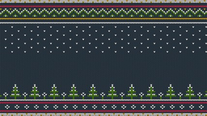 Knitted Scandinavian colored horizontal ornament with Christmas trees in the snow