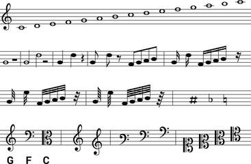 isolated symbols music notation