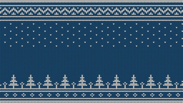 Knitted sweater ornament - spruce, falling snow, national patterns. White on a blue background.