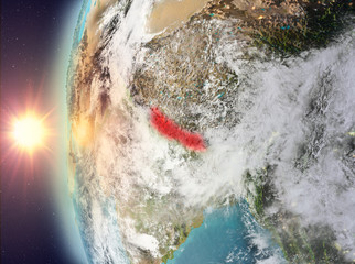 Nepal during sunset from space