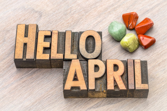 Hello April in vintage wood type