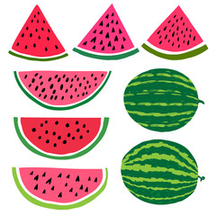 Vector cartoon watermelon fruit illustration. Slice and whole