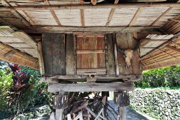 Filipino vernacular architecture-wood and bamboo granary. Tan-am barangay-Banaue town-Ifugao-Philippines. 0056