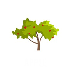 Apple tree icon. Flat illustration of apple tree vector icon isolated on white background
