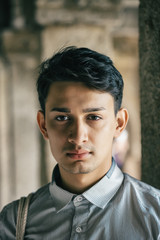 Outdoor Headshot of Young Fashionable Indian Man