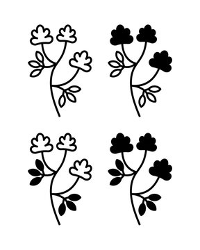 Vector illustration of alfalfa plant with flowers