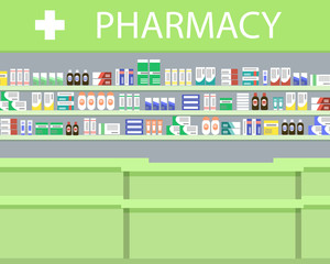 Objects of a pharmacy interior. There is a signboard and shelves with medicines in the picture. Vector illustration.