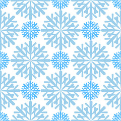 Seamless pattern with snowflakes on blue background