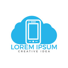 Cloud and Mobile phone logo design. Digital storage and computing service concept.