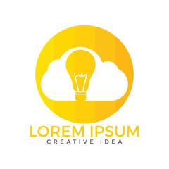Bulb Cloud Logo Design. Idea cloud logo template with an abstract light bulb inside a cloud, representing idea, invention, smart solutions.