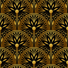 Seamless golden Art Deco pattern with abstract shells. Vector fashion backdrop in vintage style