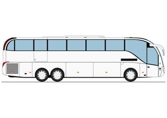 Cartoon bus coach. Side view. Flat vector.