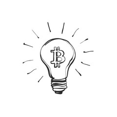 Doodle hand drawn shining. Bitcoin consumes a lot of electricity