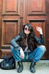 Portrait of street fashion woman