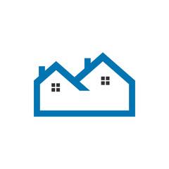 Flat blue outline real estate logo vector