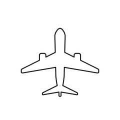 Airplane line icon view from above. Vector isolated plane outline contour symbol