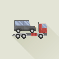 wrecker truck with car vector icon flat style