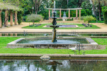 Fountains in Maria Luisa Park in Seville, Spain