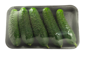 The group of fresh cucumbers isolated on a white background with clipping path.