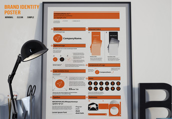 Brand Identity Poster with Orange Accents