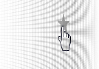 Close Up Hand Cursor and Site Rating Star on Computer LCD Screen Pixel Background  - Vector Macro Image Digital Concept
