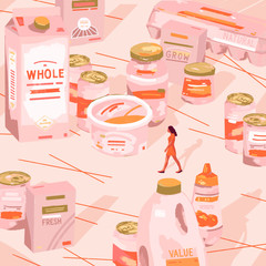 Illustration of woman walking through grocery