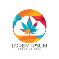 Cloud or smoke with marijuana leaf logo design.