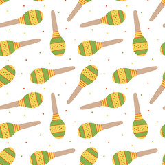 Cute colorful seamless pattern background with mexican musical instruments maracas and dots.
