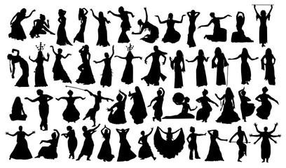Set of oriental dance silhouettes