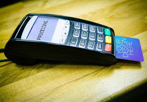 POS Terminal and Credit Card Mockup
