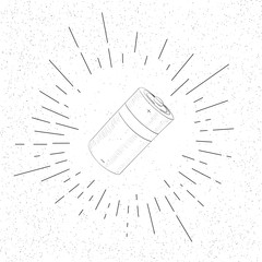 Hand Drawn Symbol of Battery - Doodle Vector Hatch Icon