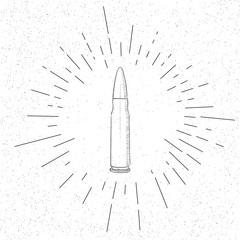 Hand Drawn Symbol of Firearm Bullet - Doodle Vector Hatch Icon
