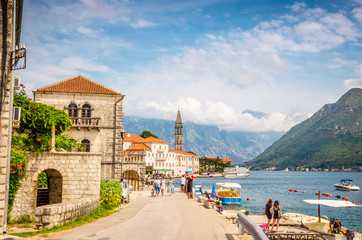 beautiful mediterranean landscape. Mountains near town Perast, Kotor bay (Boka Kotorska), Montenegro. Wall mural