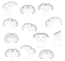 Flat Vector Computer Generated  L-system Branching Fractal Set - Pythagorean Tree with Different Parameters