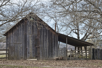 Front view of old barn