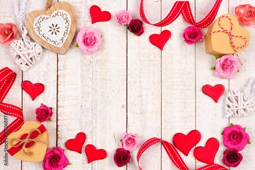 Valentines Day Frame Of Hearts Flowers Gifts And Decor Against A
