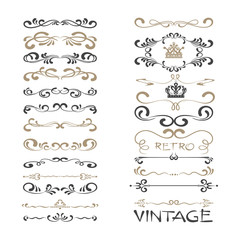 curls, calligraphic elements for design, vector set